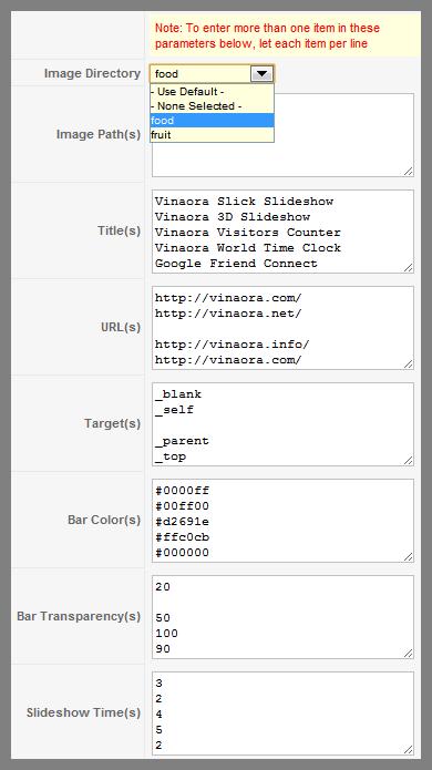 Vinaora Slick Slideshow Parameters